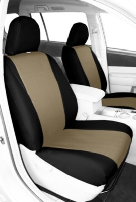 CalTrend CALPR11005LB I Can't Believe It's Not Leather Seat Cover - Black sides and sandstone insert, Synthetic leather, 2-tone, Direct Fit