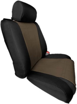 CalTrend CALPR11006DD Dura-Plus Seat Cover - Black sides and beige insert, Cordura Canvas, Solid, Direct Fit