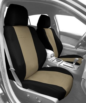 CalTrend CALTY49606DD Dura-Plus Seat Cover - Black sides and beige insert, Cordura Canvas, 2-tone, Direct Fit