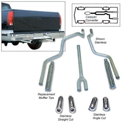 Heartthrob Exhaust HEA1005060 Deep Tone Dual Exhaust System - 2.25 in. Main Piping Diameter, Dual, Split Rear, Natural, Aluminized Steel, 49-State Legal - no CA shipments