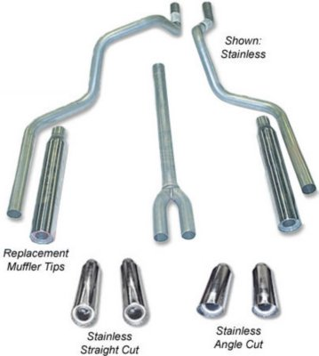 Heartthrob Exhaust HEA1005720 Deep Tone Dual Exhaust System - 2.25 in. Main Piping Diameter, Dual, Split Rear, Natural, Aluminized Steel, 49-State Legal - no CA shipments