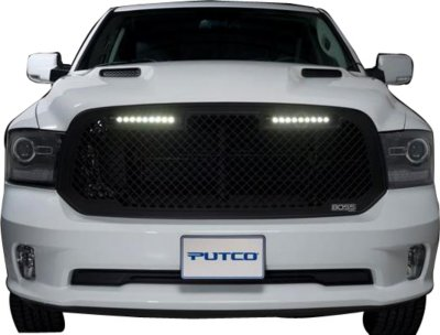 Putco P45270523BL Boss Billet Grille - Powdercoated Black, Aluminum, Punch Style, Grille Insert, Direct Fit