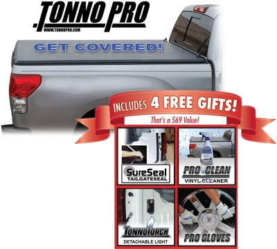 Tonno Pro TON42501 TonnoFold Tonneau Cover - Powdercoated Black, Folding, Soft Cover, Direct Fit