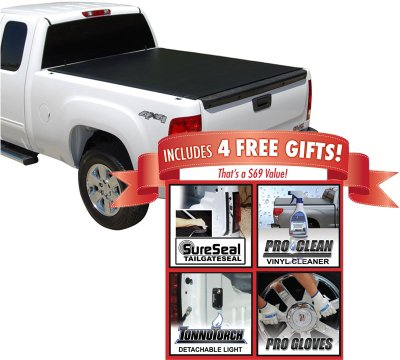 Tonno Pro TONLR1010 LoRoll Tonneau Cover - Powdercoated Black, Roll-up, Soft Cover, Direct Fit